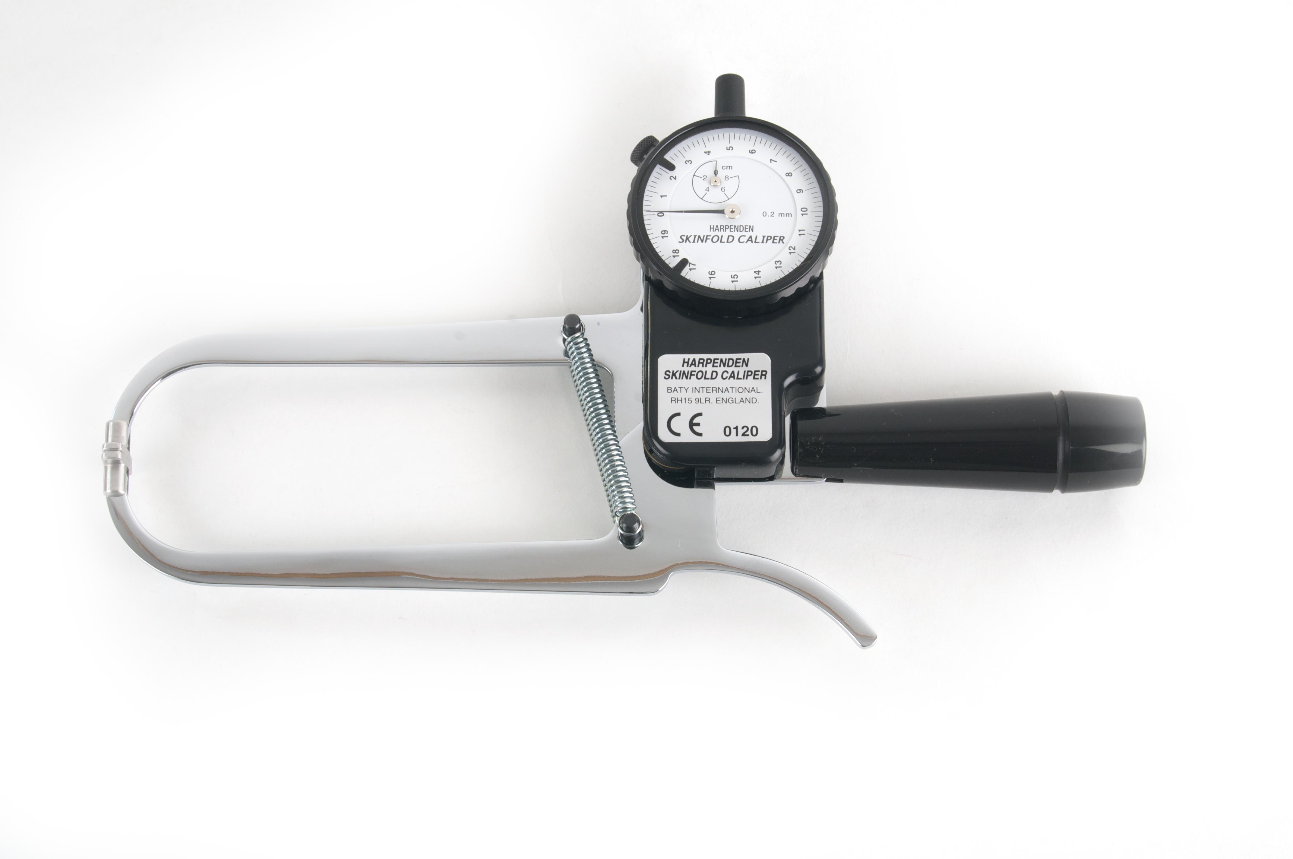 Plicómetro para valoración nutricional HARPENDEN, metálico, incluye estuche y manual.